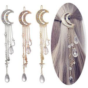 NEW MOON DANGLE HAIR CLIP GOLD BRONZE
